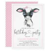 Cow Girl Farm Birthday Party Invitations
