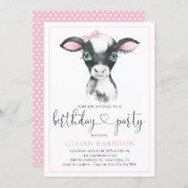 Cow Girl Farm Birthday Party Invitations