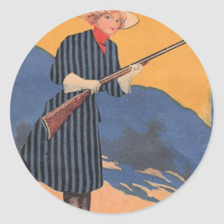 Cow Girl - Hot Shot Vintage Classic Round Sticker