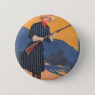 Cow Girl - Hot Shot Vintage Pinback Button
