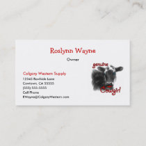 Cow Girl Large Western Theme Business Card