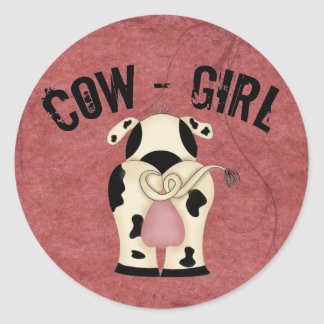 Cow-Girl Round Stickers