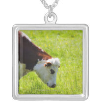 Cow grazing in a field, Loire Valley, France Silver Plated Necklace