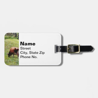 Cow Grazing in Pasture Luggage Tag