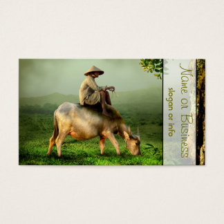 Cow Grazing with Farmer in a Scenic Pasture Business Card