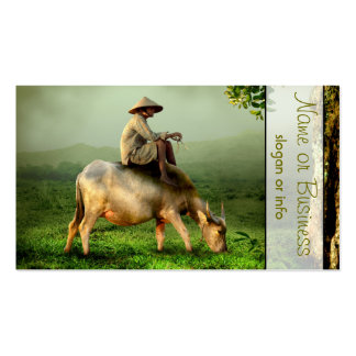 Cow Grazing with Farmer in a Scenic Pasture Double-Sided Standard Business Cards (Pack Of 100)