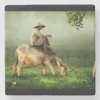 Cow Grazing with Farmer in a Scenic Pasture Stone Beverage Coaster