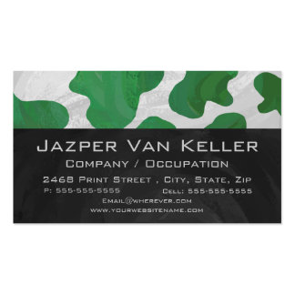 Cow Green and White Monogram Business Card