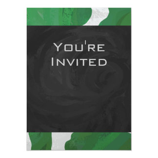 Cow Green and White Monogram Card