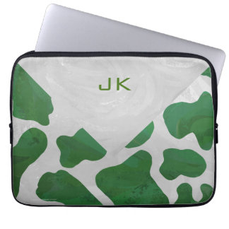 Cow Green and White Monogram Computer Sleeve
