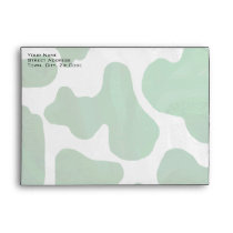 Cow Green and White Monogram Envelope
