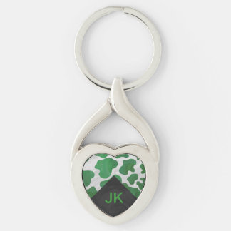 Cow Green and White Monogram Keychain
