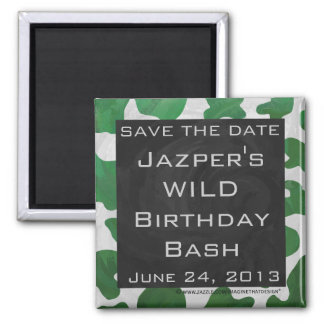Cow Green and White Monogram Magnet