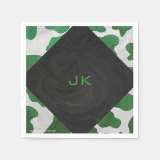 Cow Green and White Monogram Paper Napkin
