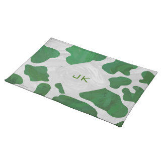 Cow Green and White Monogram Placemat
