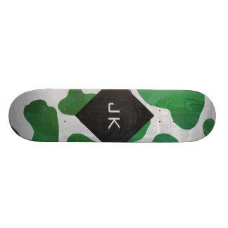 Cow Green and White Monogram Skateboard