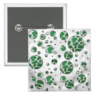 Cow Green and White Print 2 Inch Square Button