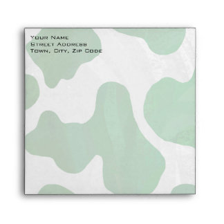 Cow Green and White Print Envelope