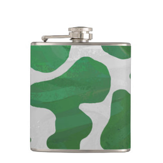 Cow Green and White Print Hip Flask