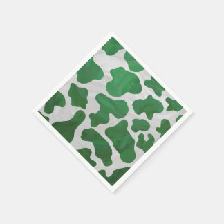 Cow Green and White Print Paper Napkin