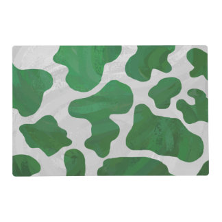 Cow Green and White Print Placemat
