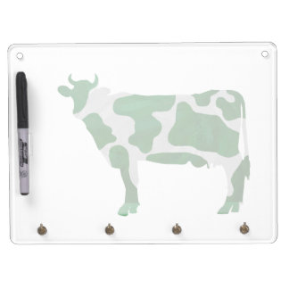 Cow Green and White Silhouette Dry Erase Board With Keychain Holder