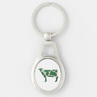 Cow Green and White Silhouette Keychain