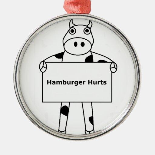 Cow:  Hamburger Hurts Christmas Ornaments