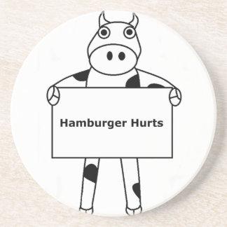 Cow:  Hamburger Hurts Drink Coaster