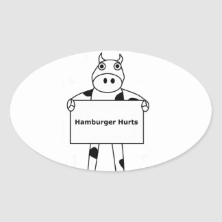 Cow:  Hamburger Hurts Oval Sticker
