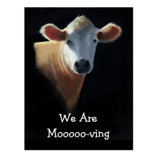 COW HEAD: ART: WE ARE MOVING CARD POSTCARD
