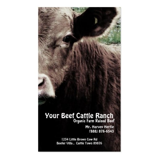 Cow Head  Beef Ranch Business Card Template