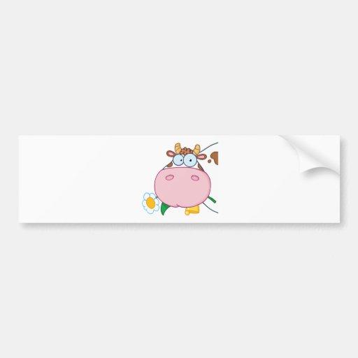 Cow Head Cartoon Character Bumper Sticker