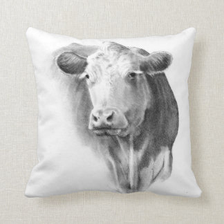 Cow Head in Pencil: Realism Art: Farm, Country Throw Pillow