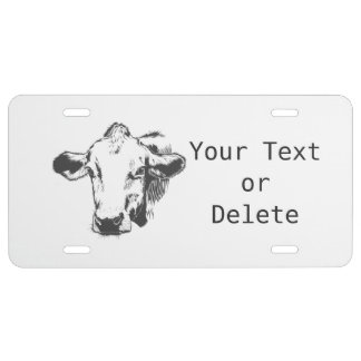 Cow head license plate