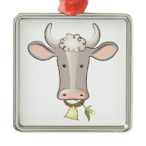 Cow Head Metal Ornament