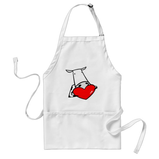 Cow Heart Valentine I Love Cows Adult Apron