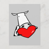 Cow Heart Valentine I Love Cows Holiday Postcard