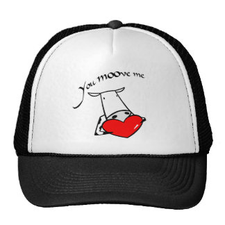 Cow Heart You Moove Me Valentine Love Hearts Trucker Hat