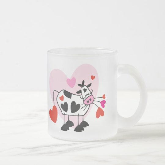 Cow Hearts Frosted Glass Coffee Mug