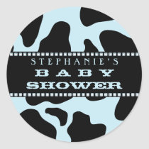 Cow Hide Print Blue Cowboy Baby Shower Sticker