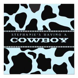"Cow Hide Print Cowboy Baby Shower Invitation 5.25"" Square Invitation Card"
