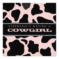 Cow Hide Print Pink Cowgirl Baby Shower Invitation