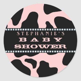 Cow Hide Print Pink Cowgirl Baby Shower Sticker
