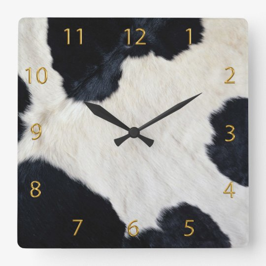 Cow Hide Square Wall Clock