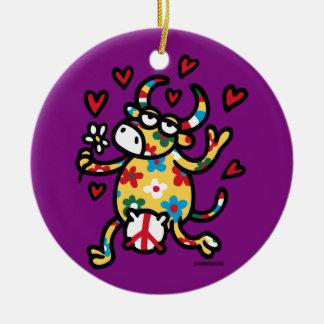 Cow Hippie Ceramic Ornament