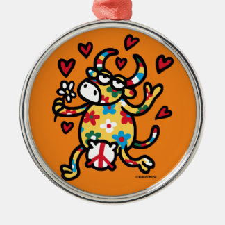 Cow Hippie Metal Ornament