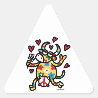 Cow Hippie Triangle Sticker