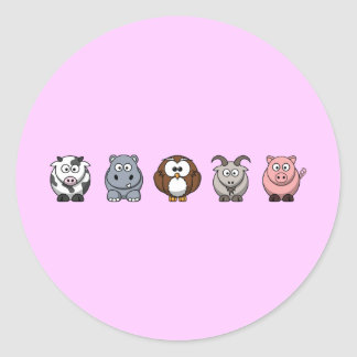 Cow Hippo Owl Goat Pig Classic Round Sticker