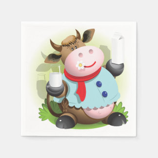 Cow Holding A Glass Of Milk Paper Napkins